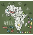 Doodle Africa map on green chalkboard with pins vector image vector image