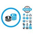 Euro Coin Columns Flat Icon with Bonus vector image vector image