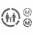 family diagram mosaic icon rough elements vector image vector image