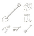 farm and gardening outline icons in set collection vector image vector image