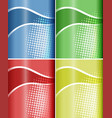 four backgrounds with wavy line and dots vector image