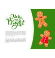 gingerbread cookies gingermen in bowtie and dress vector image vector image