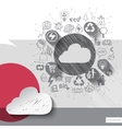 Hand drawn cloud icons with icons background vector image
