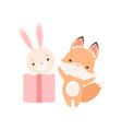 lovely little bunny sitting inside gift box fox vector image vector image
