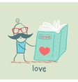 man reading a book about love vector image