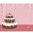 Pink background with birthday cake vector image vector image