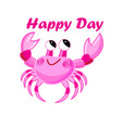 pink crab cartoon image on white background vector image vector image