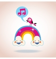 rainbow clouds and singing bird vector image vector image