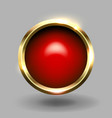 red shiny circle blank button with gold metallic vector image