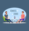 romantic dinner in cafe gay men couple meeting vector image vector image