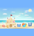 sand castle and shovel bucket and ball on beach vector image vector image