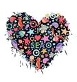 Sea life heart vector image