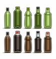 set green and brown glass bottles vector image vector image