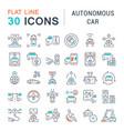 set line icons autonomous car