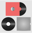 set of vinyl record and envelope for plate vector image vector image