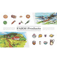 sketch farm products collection vector image vector image