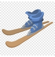 Ski boots and skis cartoon vector image