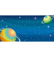 Space scene with two planets vector image vector image