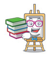 student with book easel mascot cartoon style vector image
