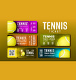 stylish design tickets for visit tennis set vector image vector image