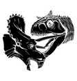 t rex versus triceratops black vector image
