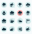 weather icons set with light sunset partly vector image vector image