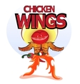 wings grill chili pepper and hamburger vector image