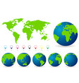 world map with all countries set of earth globes vector image