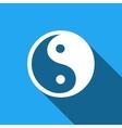Yin Yang symbol icon with long shadow vector image vector image