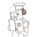 young woman chef holding cook book in her hands vector image vector image