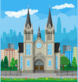 catholic church cathedral with city skylines vector image
