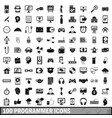 100 programmer icons set simple style vector image vector image