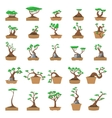 25 Cartoon bonsai trees set vector image