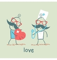 a man with a broken heart come to the doctor vector image