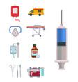 ambulance icons medicine health emergency vector image vector image