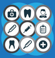 antibiotic icons set with tooth stings vector image vector image