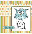 baby shower card template with funny doodle bird vector image vector image