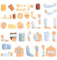 bandage icons set cartoon style
