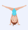 beautiful girl doing handstand and split vector image vector image