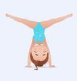 beautiful girl doing handstand and split vector image vector image