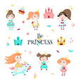 beautiful princess icon set isolated vector image vector image
