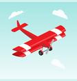biplane airplane isometric vector image