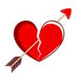 broken heart with a cupid arrow valentine day vector image