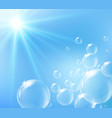 bubbles floating in blue sky vector image vector image