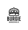 burger with leaf decoration vector image