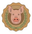 Butchery eco logo Pig head in laurel wreath vector image vector image