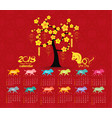 calendar 2018 tree design chinese new year the vector image vector image
