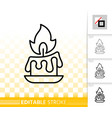 candle flame simple black line fire icon vector image vector image