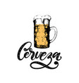 cerveza hand lettering translation from vector image
