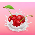 Cherry and milk splash Fruit and yogurt Realistic vector image vector image